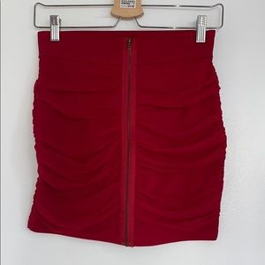 red ruched skirt with zipper
